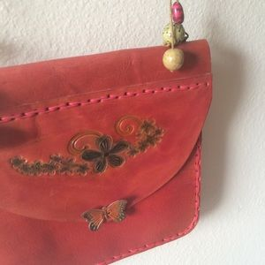 Artisan Red Leather Floral Butterfly Purse